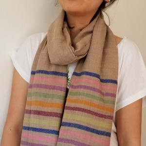 HANDWOVEN BROWN STRIPED PASHMINA SHAWL