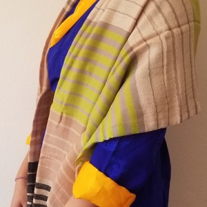 MULTICOURED STRIPED PASHMINA SHAWL